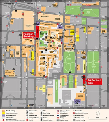UCL Map highlighting Pearson Building and 26 Bedford Way